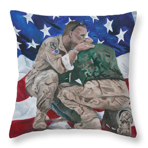 Soldiers Throw Pillow featuring the painting Soldiers by Travis Day