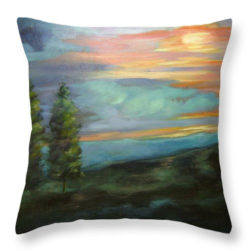 Landscape Throw Pillow featuring the painting Soledad by Ginger Concepcion