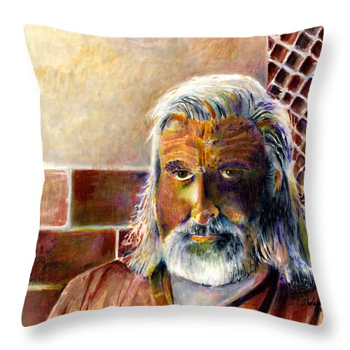 Man Throw Pillow featuring the painting Solitary by Arline Wagner