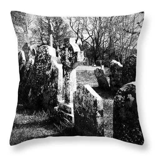 Ireland Throw Pillow featuring the photograph Solitary Cross At Fuerty Cemetery Roscommon Irenand by Teresa Mucha