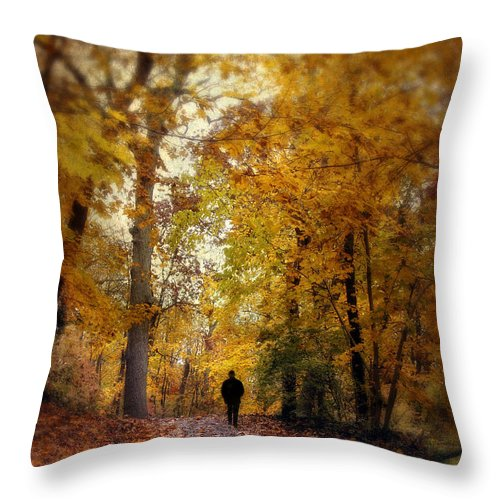 Autumn Throw Pillow featuring the photograph Solitary Man by Jessica Jenney