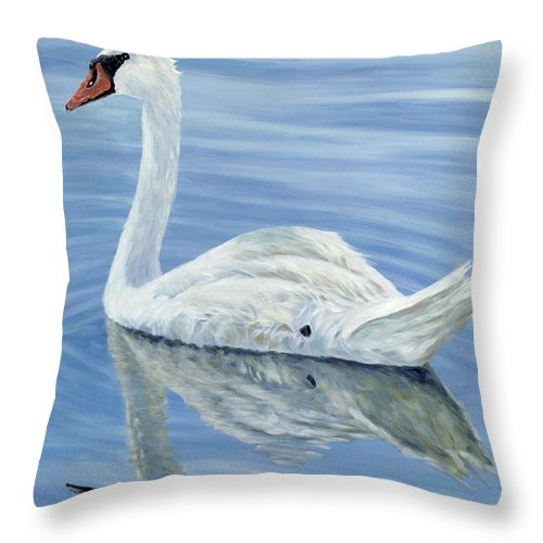 Swan Throw Pillow featuring the painting Solitary Swan by Danielle Perry