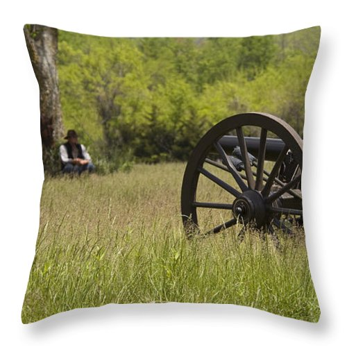 Cannon Throw Pillow featuring the photograph Solitude Before War by Chad Davis