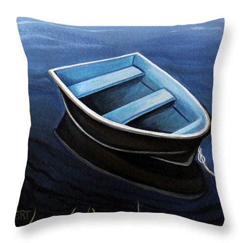 Boat Throw Pillow featuring the painting Solitude by Elizabeth Robinette Tyndall