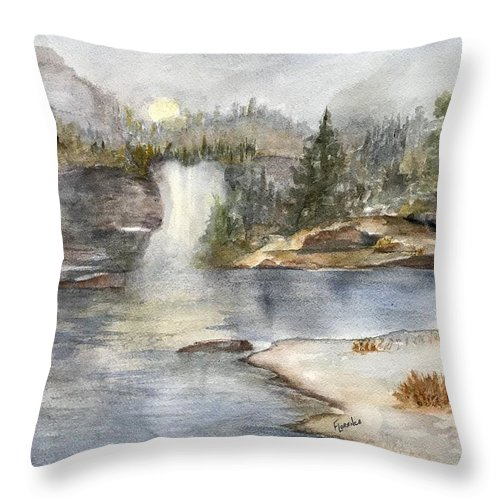 Lake Throw Pillow featuring the painting Solitude by Paintings by Florence - Florence Ferrandino