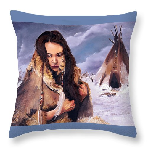 Southwest Art Throw Pillow featuring the painting Solitude by J W Baker