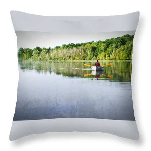 Michigan Throw Pillow featuring the photograph Solitude On Susan Lake by LuAnn Griffin
