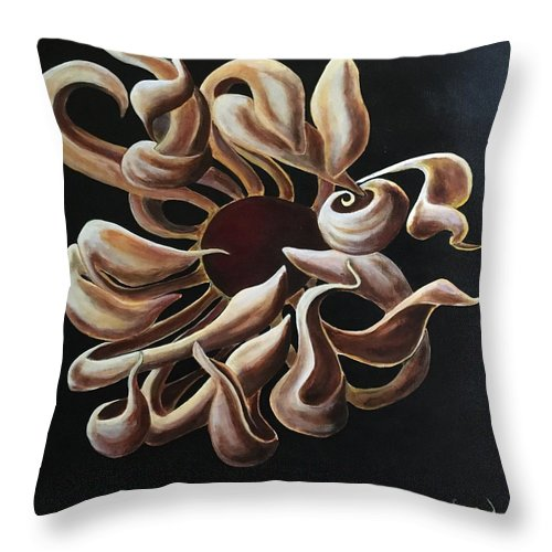 Flower Throw Pillow featuring the painting Solitude by Ron Tango Jr