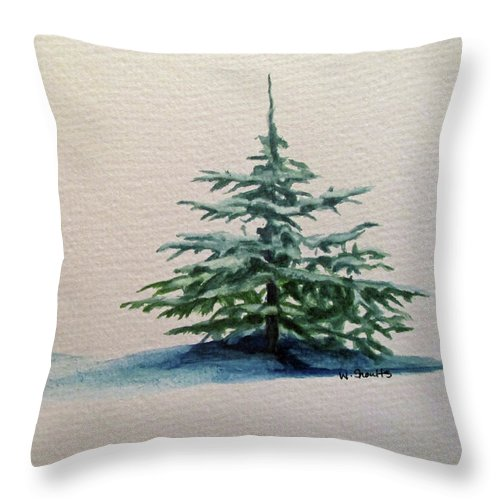 Blue Spruce Throw Pillow featuring the painting Solitude by Wendy Shoults