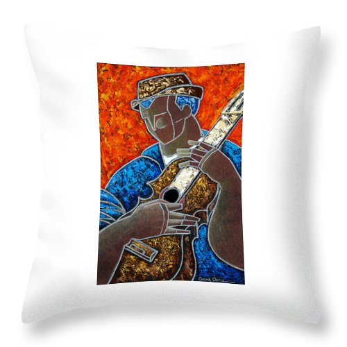 Puerto Rico Throw Pillow featuring the painting Solo De Cuatro by Oscar Ortiz