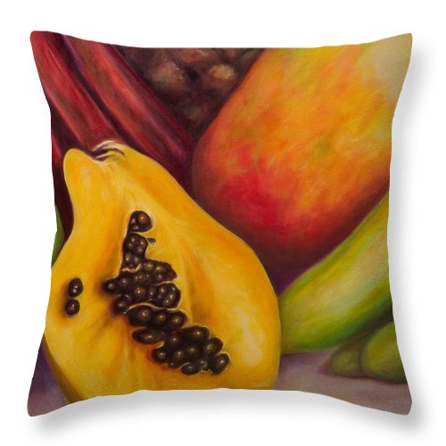 Tropical Fruit Still Life: Mangoes Throw Pillow featuring the painting Solo by Shannon Grissom