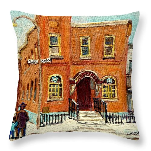 Bagg Street Synagogue Throw Pillow featuring the painting Solomons Temple Montreal Bagg Street Shul by Carole Spandau