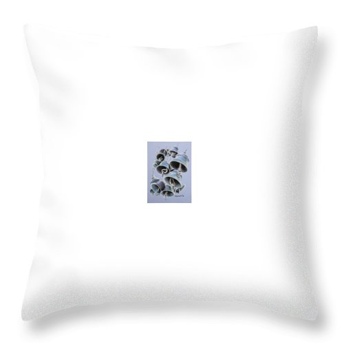 Bells Throw Pillow featuring the drawing Solstice Bells by Michael Beckett