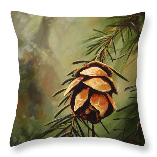 Closeup Of Spruce Cone Throw Pillow featuring the painting Solstice by Hunter Jay