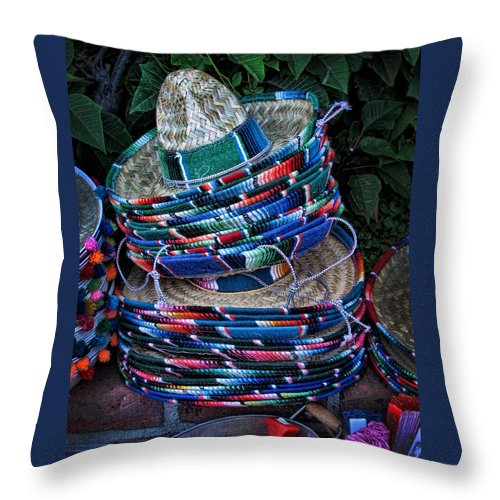 Sombreros Throw Pillow featuring the photograph Sombreros by Helaine Cummins