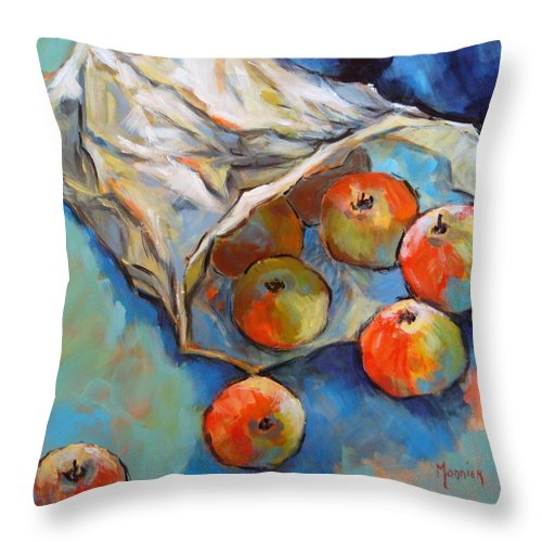 Apples Throw Pillow featuring the painting Some Apples by Cathy MONNIER