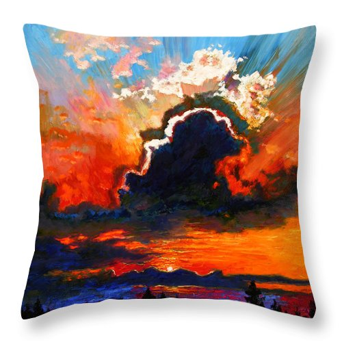 Landscape Throw Pillow featuring the painting Some Glad Morning by John Lautermilch