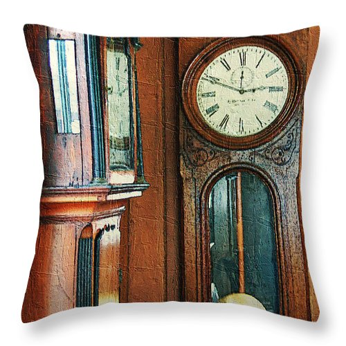 Antiques Throw Pillow featuring the digital art Somebodys Grandfathers Clocks by RC DeWinter