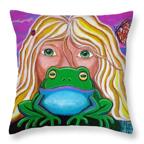 Frog Throw Pillow featuring the painting Somebody's Prince by Nick Gustafson
