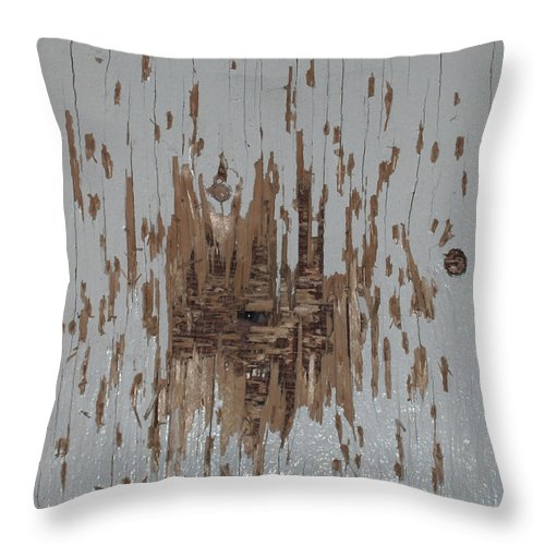 Eye Gun Shot Walls Hole Eerie Scary Wood Alone Throw Pillow featuring the photograph Someone Watching by Andrea Lawrence