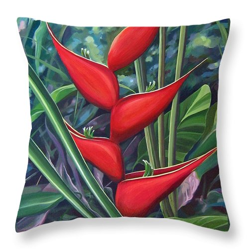 Heliconia Throw Pillow featuring the painting Something In Red by Hunter Jay