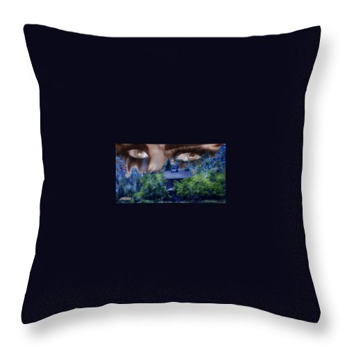 Strange House Throw Pillow featuring the digital art Something To Watch Over Me by Seth Weaver