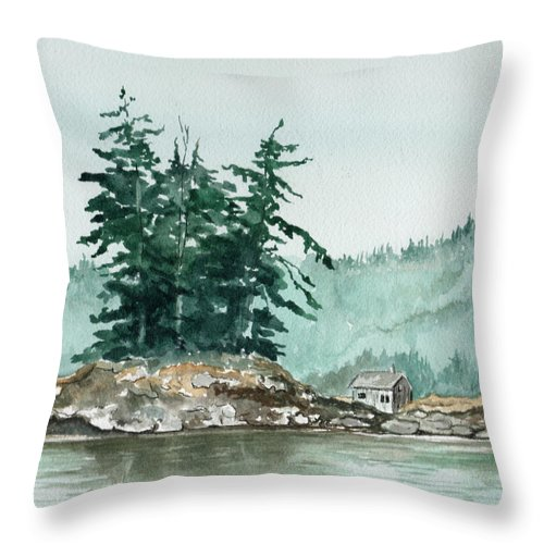 Landscape Watercolor Scenery Scenic Nature Wilderness Cabin Shack Trees Water Rural Throw Pillow featuring the painting Sometimes A Great Notion by Brenda Owen