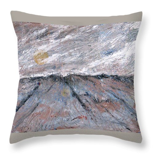 Mountains Throw Pillow featuring the painting Somewhere Higher by Rollin Kocsis