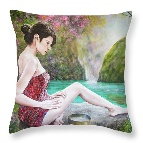 Woman Throw Pillow featuring the painting Somewhere In The Woods by Jan Camerone