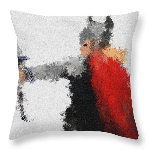 God Throw Pillow featuring the painting Son Of Asgard by Miranda Sether