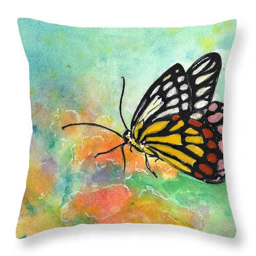 Butterfly Throw Pillow featuring the painting Song Of Joy - Butterfly by Robin Monroe