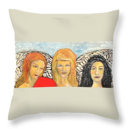 Angels Throw Pillow featuring the painting Song of the Sisters by J Bauer