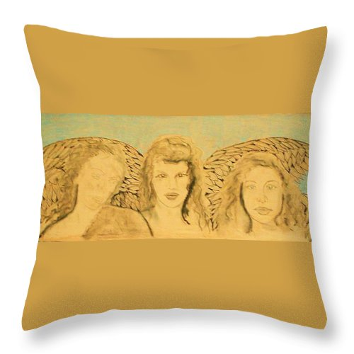 Angels Throw Pillow featuring the drawing Song Of The Sisters Unfinished by J Bauer