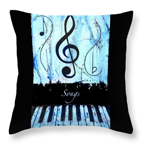 Songs - Blue Throw Pillow featuring the mixed media Songs - Blue by Wayne Cantrell