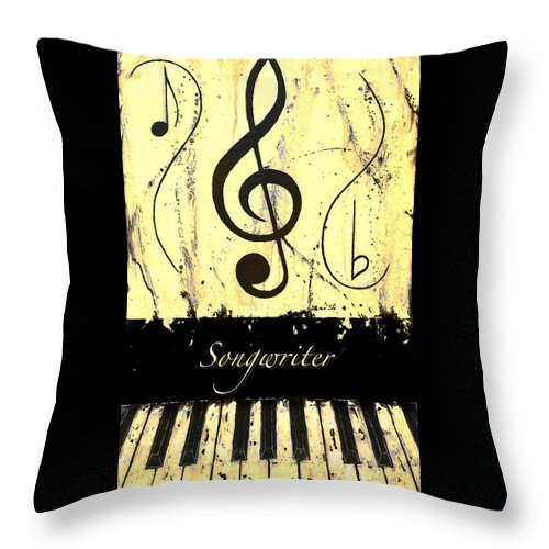 Songwriter - Yellow Throw Pillow featuring the mixed media Songwriter - Yellow by Wayne Cantrell