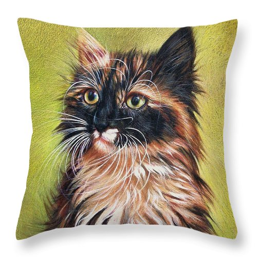 Cat Throw Pillow featuring the drawing Sonia by Elena Kolotusha