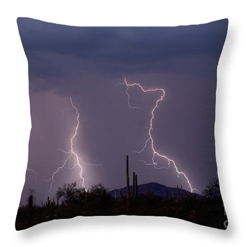 Lightning Throw Pillow featuring the photograph Sonoran Storm by James BO Insogna