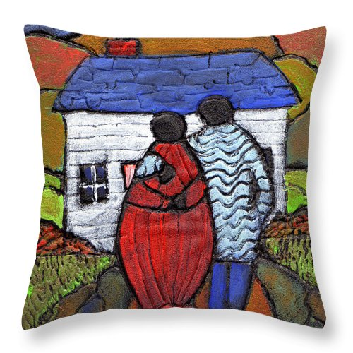 Folk Art Throw Pillow featuring the painting Soon To Be Three by Wayne Potrafka