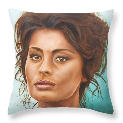 Moviestar Throw Pillow featuring the painting Sophia Loren by Rob De Vries