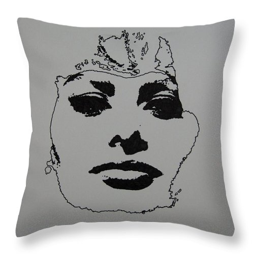 Sophia Throw Pillow featuring the drawing Sophia by Lynet McDonald