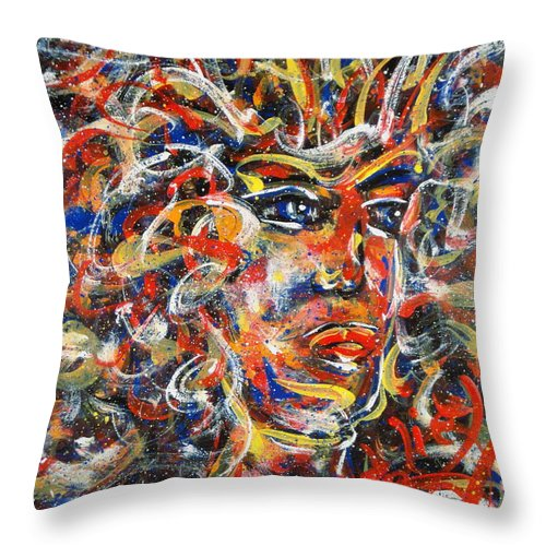 Free Expressionism Throw Pillow featuring the painting Sophia by Natalie Holland