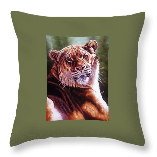 Hybrid Throw Pillow featuring the painting Sophie The Liger by Barbara Keith