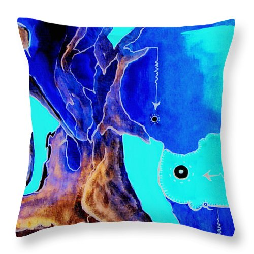 Game Direction Abstract Red Man Throw Pillow featuring the painting Sophogame by Veronica Jackson