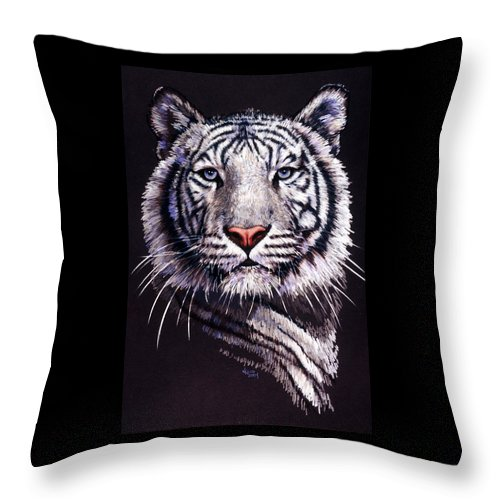 Tiger Throw Pillow featuring the drawing Sorcerer by Barbara Keith