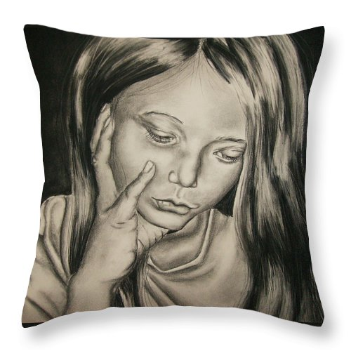 Woman Throw Pillow featuring the drawing Sorrow by Ashley Warbritton