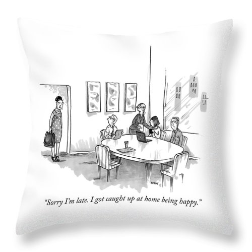 """""""sorry I'm Late Throw Pillow featuring the drawing Sorry Im Late by Teresa Burns Parkhurst"""