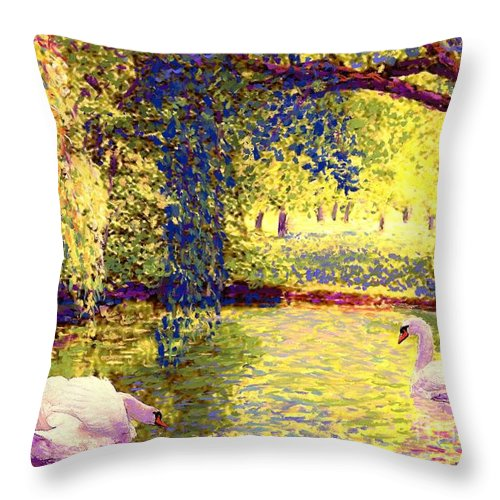 Landscape Throw Pillow featuring the painting Swans, Soul Mates by Jane Small