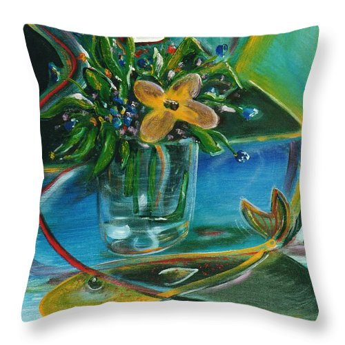 Abstract Throw Pillow featuring the painting Soul Of A Poet by Dennis Tawes