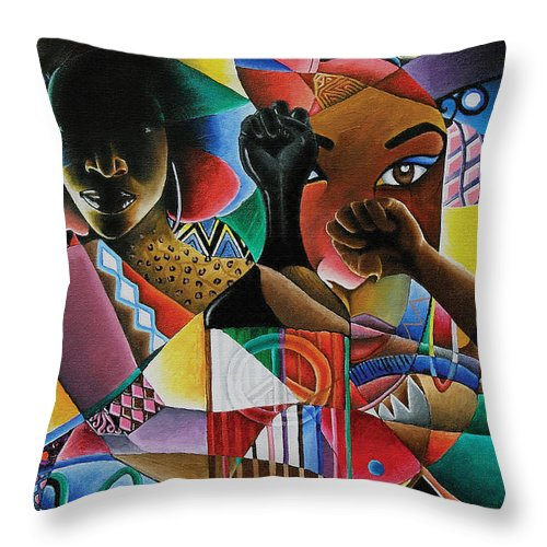 Black Art Throw Pillow featuring the painting Soul by Stacy V McClain