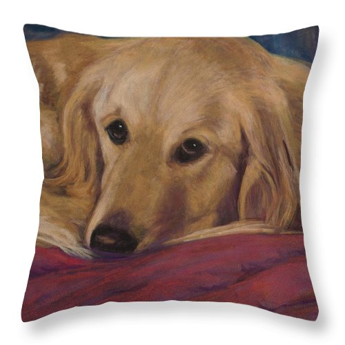 Dogs Throw Pillow featuring the painting Soulfull Eyes by Billie Colson